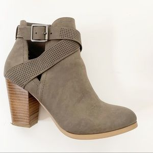 Call it Spring Taupe Ankle Buckle Booties Boots